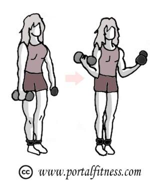 Bíceps con mancuernas